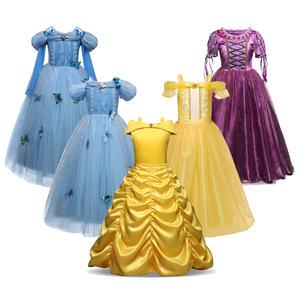Princess Costume Belle Dress-Up Rapunzel-Gown Shoulderless Fantasy Frock Tulle Girls