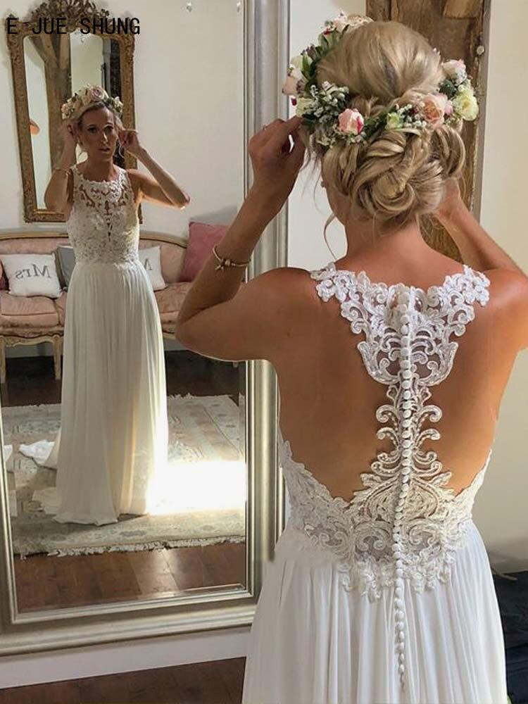 E JUE SHUNG White Simple Sleeveless Wedding Dresses O-Neck A Line Button Back Boho Wedding Gowns Lace Appliques vestido de noiva
