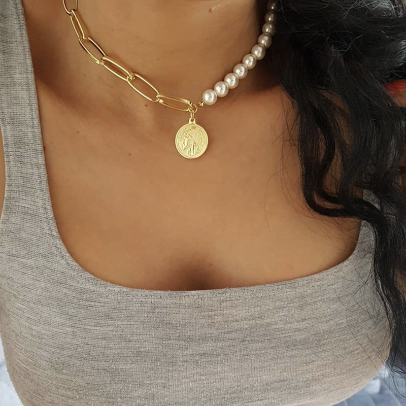 COWBREA Choker Women Necklace Chain Pretty Imitation Pearl Necklace Clavicle Chain Collares Party Friendship Gift Jewelry