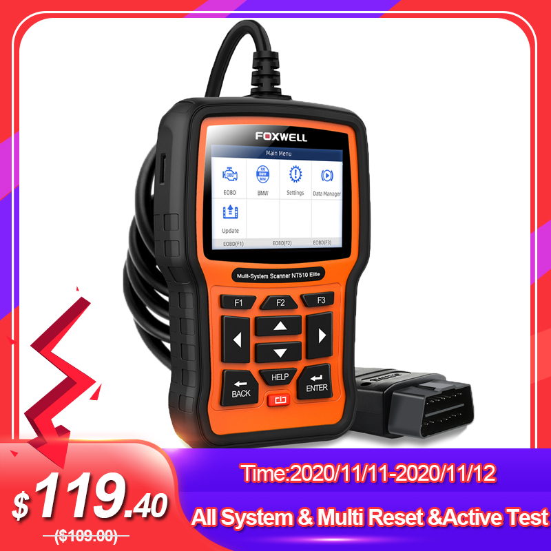 FOXWELL NT510 Elite Full System OBD2 Scanner SAS SRS DPF Multi Reset Bi-Directional Active Test Code Reader Car Diagnostic Tool