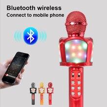 Cool Led Light Met Speaker Karaoke Condensator Microfoon Zingen Opname Draadloze Microfoon Voor Mobiele Telefoon Ondersteuning Bluetooth Tf Card