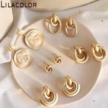 South Korea retro matte minimalist alloy earrings ins Fengdong gate senior sense holiday tourism girl Earrings