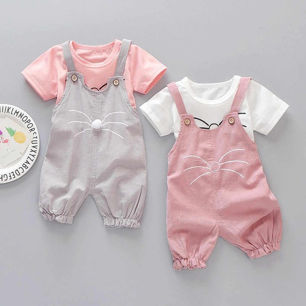 Kleinkind Kinder Baby Mädchen Cartoon kurzarm solide katze gesicht druck T-shirt + katze gesicht bib Body Strampler Outfitt l1202