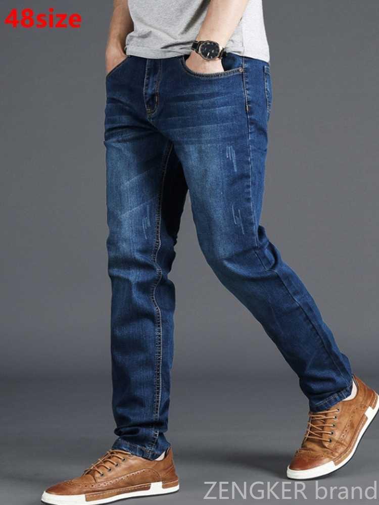 Musim Semi Pria Peregangan Biru Pria Pinggang Tinggi 130Kg Ukuran XL Besar Orang Slim Celana Panjang 48 46 44 42 40 38 36