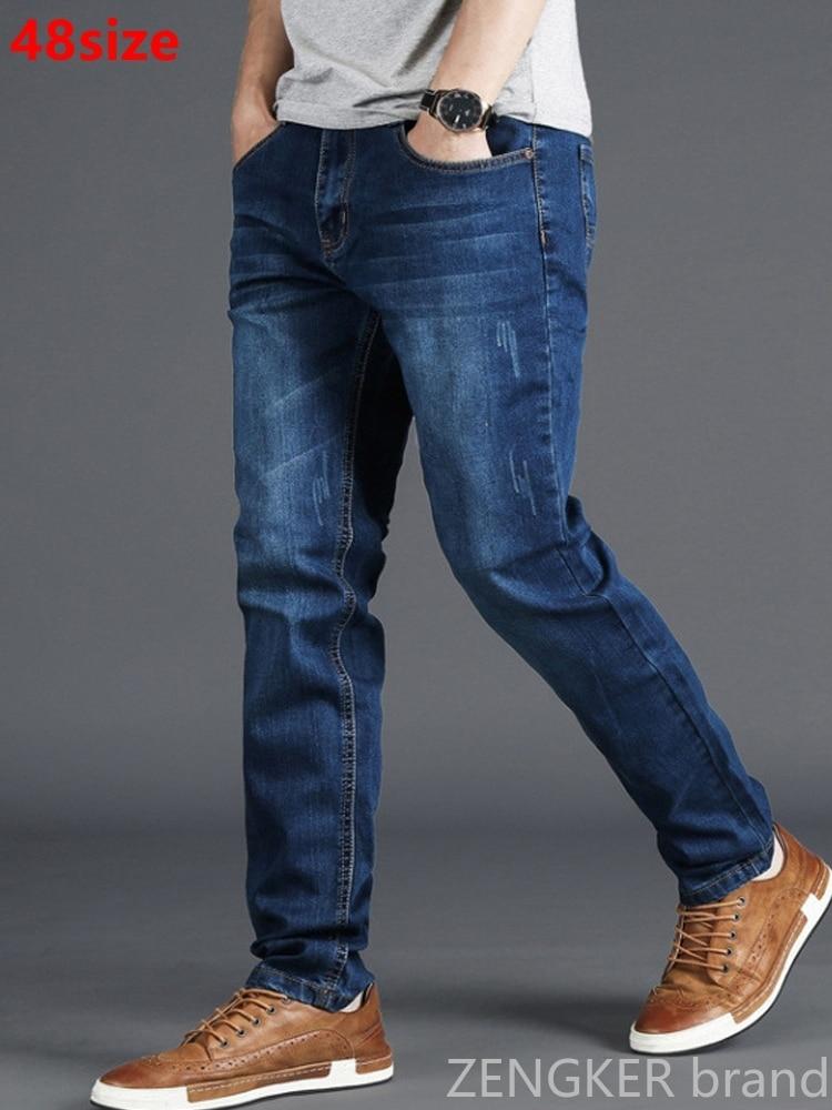 Spring Jeans Men's Stretch Blue Men's High Waist 130kg Plus Size XL Oversized People Slim Long Pants 48 46 44 42 40 38 36
