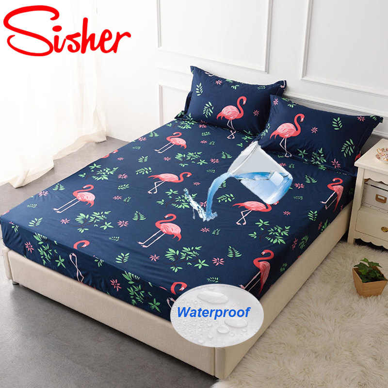 Sisher Printing Bed Mattress Cover Waterproof Protector Pad Soft Fitted Sheet Separated Water Linens with Elastic Air-Permeable