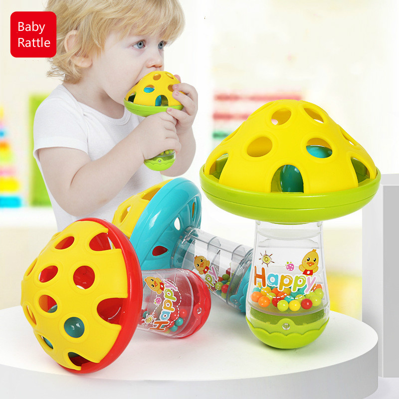 Baby Non-toxic Comforting Baby Teether Toys Mushroom Hand Jingle Shaking Bell Baby Rattles Toys Music Handbell Kids Color Random
