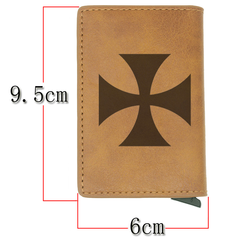 Antique Classic Knight Templar Cross Rfid Card Holder Men Wallets Brown Vintage Short Purse Leather Slim Wallets Mini Wallet