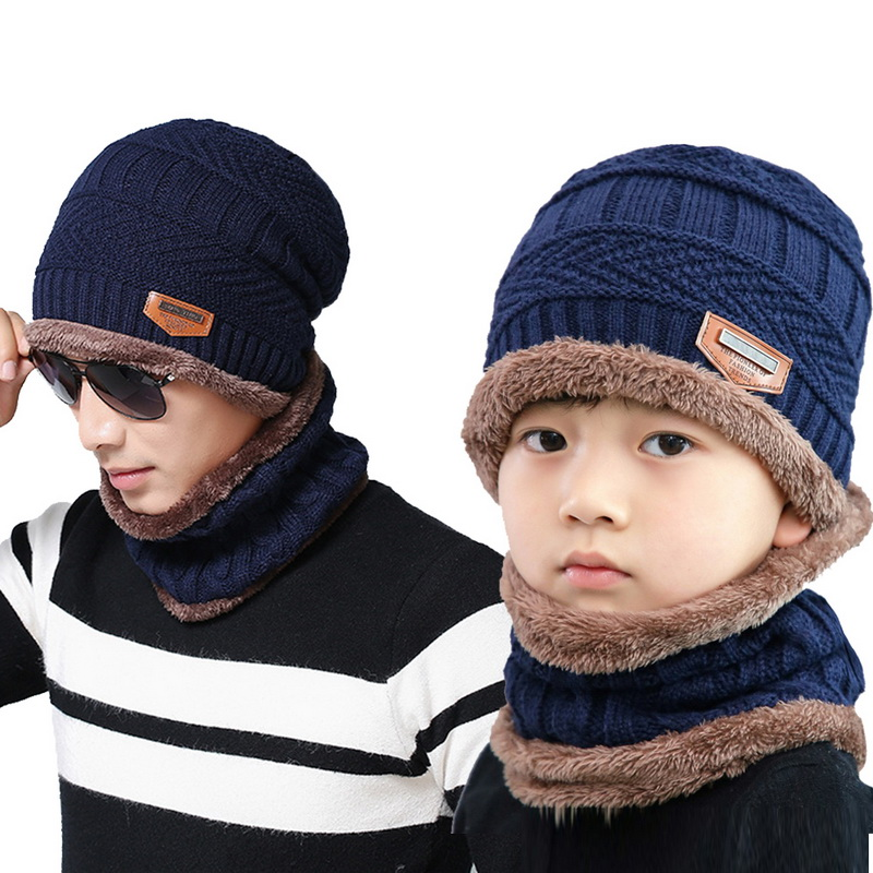 Solid Knit Beanies Hat Scarf Plus Velvet Winter Hat Man Woman Warm Thicken Hedging Cap Ski Soft Scarves Hat Scarf Set