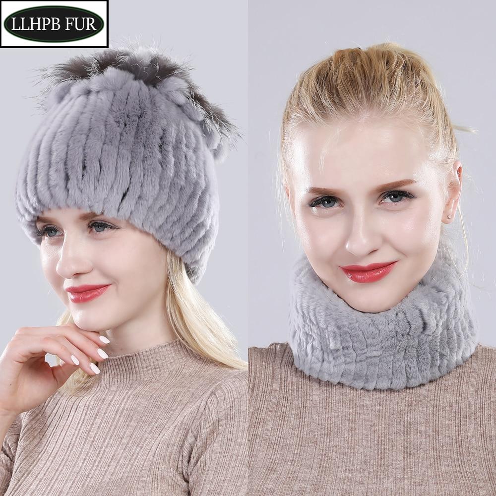Women Warm Real Rex Rabbit Fur Hat Scarf Winter Knitted 100% Natural Fur Hats Scarves Sets Lady Fashiom Thick Rex Rabbit Fur Hat