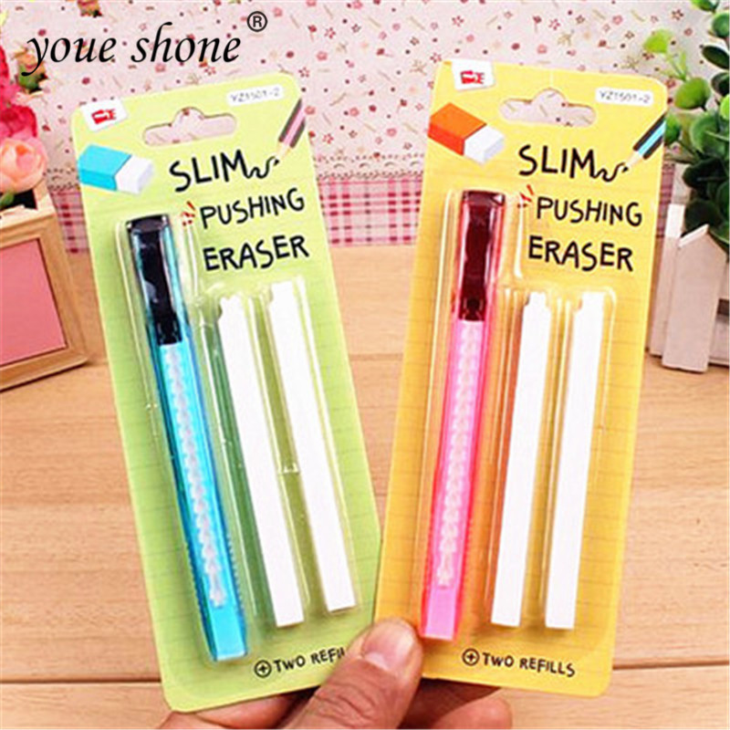 3PCS = Set Rubber Eraser Prizes For Kids Soft Retractable Art Eraser Eraser Refill Stationery School Accessories For Penciles