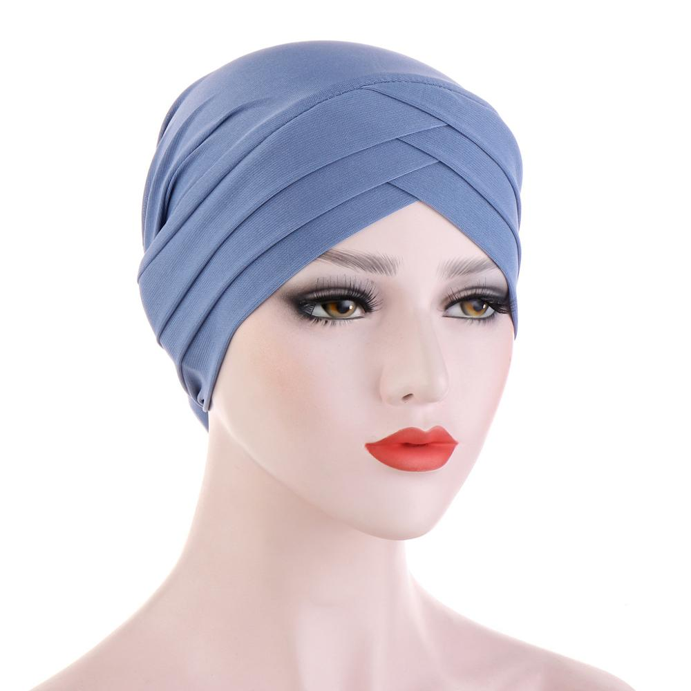 2020 NEW Muslim Underscarf Caps Forehead Cross Stretch Inner Hijabs Female Headscarf Bonnet Ladies Head Wraps Turban Femme