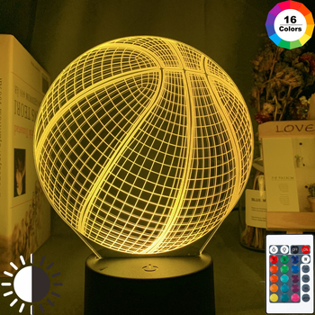 3d Illusion Night Lamp Basketball Ball Hologram Acrylic Nightlight for Room Decor Unique Gift for Student Bedroom Night Light image