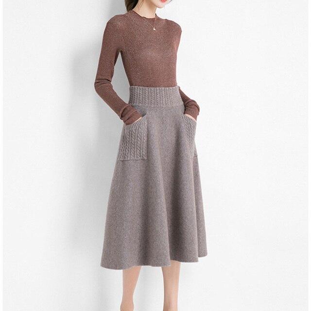 Sherhure 2019 High Waist Women Winter Wool Knitting Long Skirts Faldas Jupe Femme Saia Vintage Women Black Skirt With Pocket 4