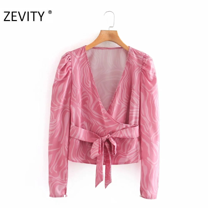 ZEVITY women fashion puff sleeve cross v neck printing casual shirt blouses women bow teid sashes roupas chic blusas tops LS7083