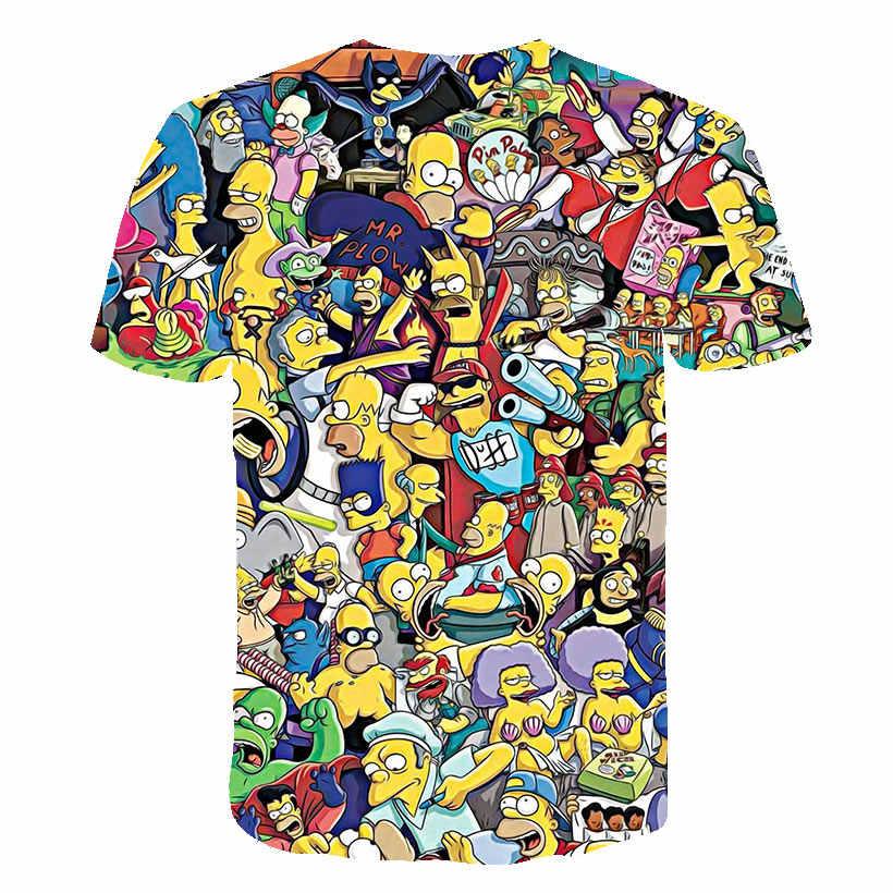 2019 yeni Simpson Snoopy ve diğer animasyon baskı erkek ve kadın t-shirt yuvarlak yaka ve kısa kollu yaz aylarında