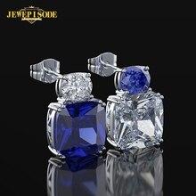 Jewepisode 100% Solid Silver 925 Jewelry Sapphire Zircon Earring for Women Specail Design Cocktail Party Stud Earrings wholesale