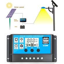 10A/20A/30A Солнечный контроллер автоматический Солнечный Контроллер заряда PWM контроллеры lcd двойной USB 5 В выход солнечная панель PV регулятор