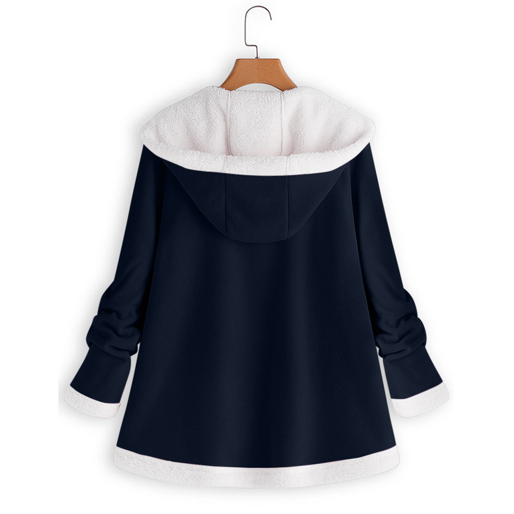 H547a309fc0a141e38d7c618f921e330em women's autumn jacket Winter warm solid Plush Hoodie Coat Fashion Pocket Zipper Long Sleeves outwear manteau femme plus size 5XL