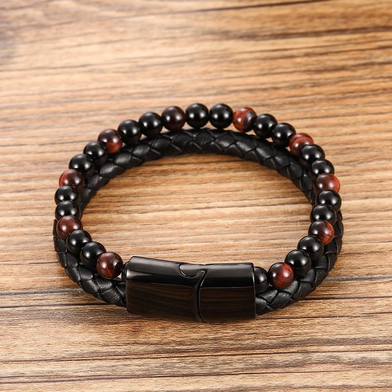 Bracelet à perles en cuir pour hommes, corde en acier inoxydable, pierre naturelle et magnétique, bracelet en pierre volcanique, chaîne cadeau 4