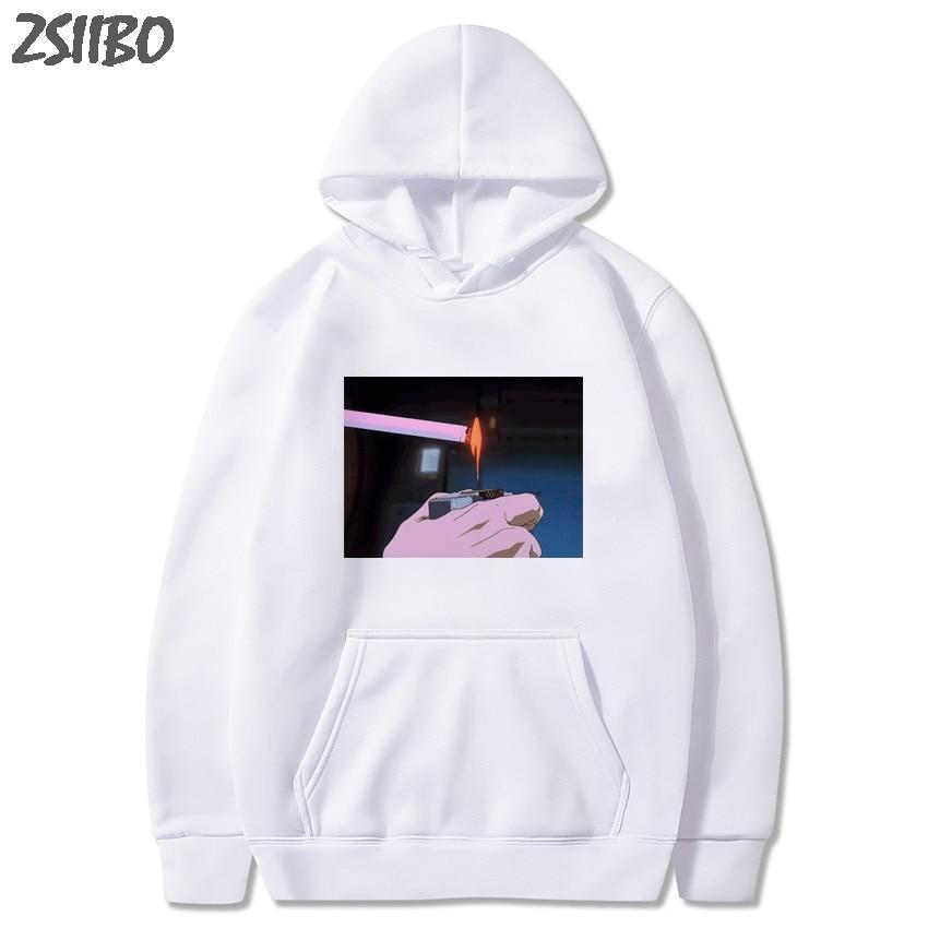 Harajuku Sad Somke Vapor Wave Print Funny Anime Print Unisex 2019 Sweatshirt Man's Hoodies Male Casual Hooded Tops Streetwear