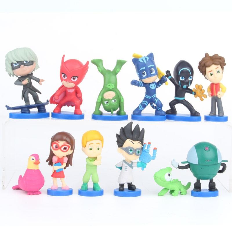 12PCS/SET PJ Masks Cartoon Diverse Shapes Character Toy Sports Pj Catboy Owlette Gekko Figures Anime Toys Gift For Children 2B47