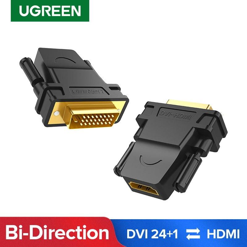 Ugreen dvi para hdmi adaptador bidirecional DVI-D 24 + 1 macho para hdmi fêmea cabo conector conversor para hdtv projetor hdmi para dvi