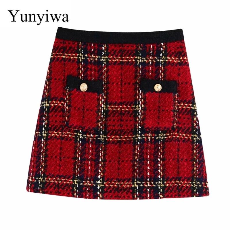 2020 Women Elegant Red Plaid Pockets Patch Tweed Mini Skirt Faldas Mujer Ladies Stylish Back Zipper Chic A Line Skirts