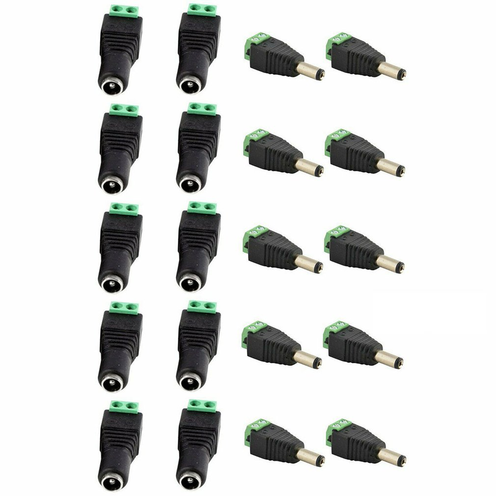 10 Pair (20pcs) Coax Cat5 To Bnc DC Power Male Jack Plug DC Female Connector Plug Adapter Av BNC UTP For CCTV Camera Video Balun