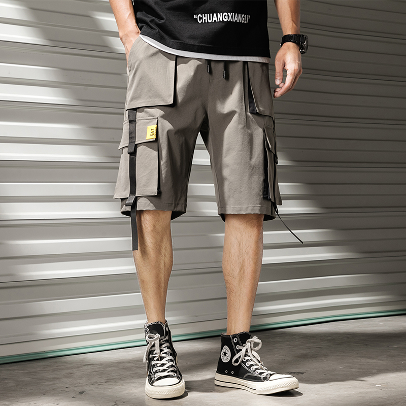 Men's Cargo Shorts Comfortable Drawstring Elastic Waist Casual Male Shorts Knee Length Multi Pocket Streetwear Shorts Men