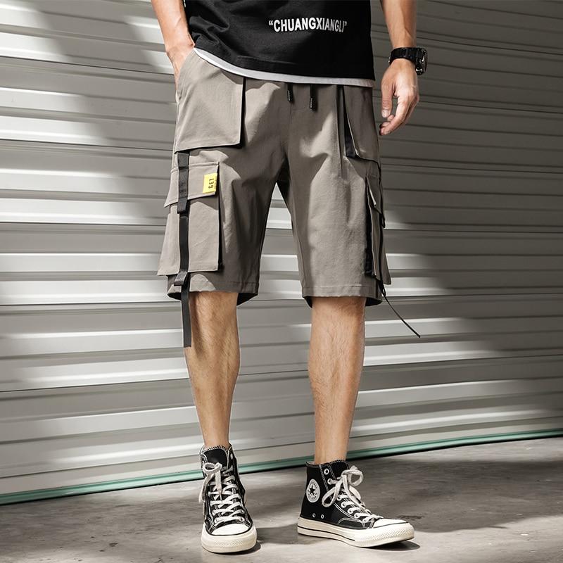 Men's Cargo Shorts Comfortable Drawstring Elastic Waist Casual Male Shorts Knee Length Multi Pocket Streetwear Shorts Men