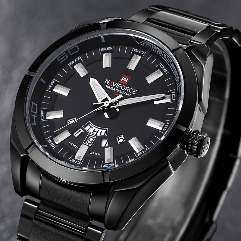 Cheapest NAVIFORCE Luxury Brand Men's Sport Watch Full Steel Quartz Watches Men Date Waterproof Military Clock Relogio Masculino