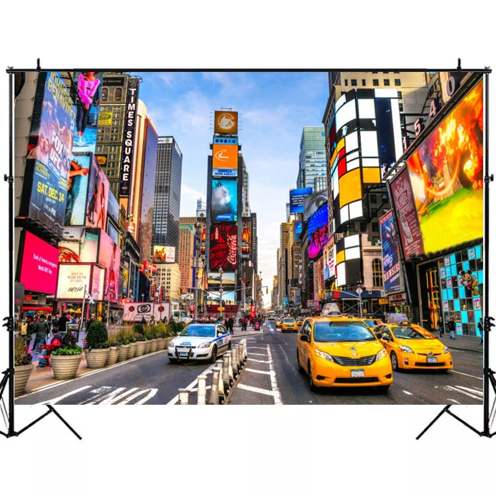 7x5ft Beautiful New York Night Cityscape Polyester Photography Backdrop Skyscrapers Rush Hour Traffic Modern City Background Dusk Sky Bright Street Lamp Film Studio Prop Video Shoot Postcard