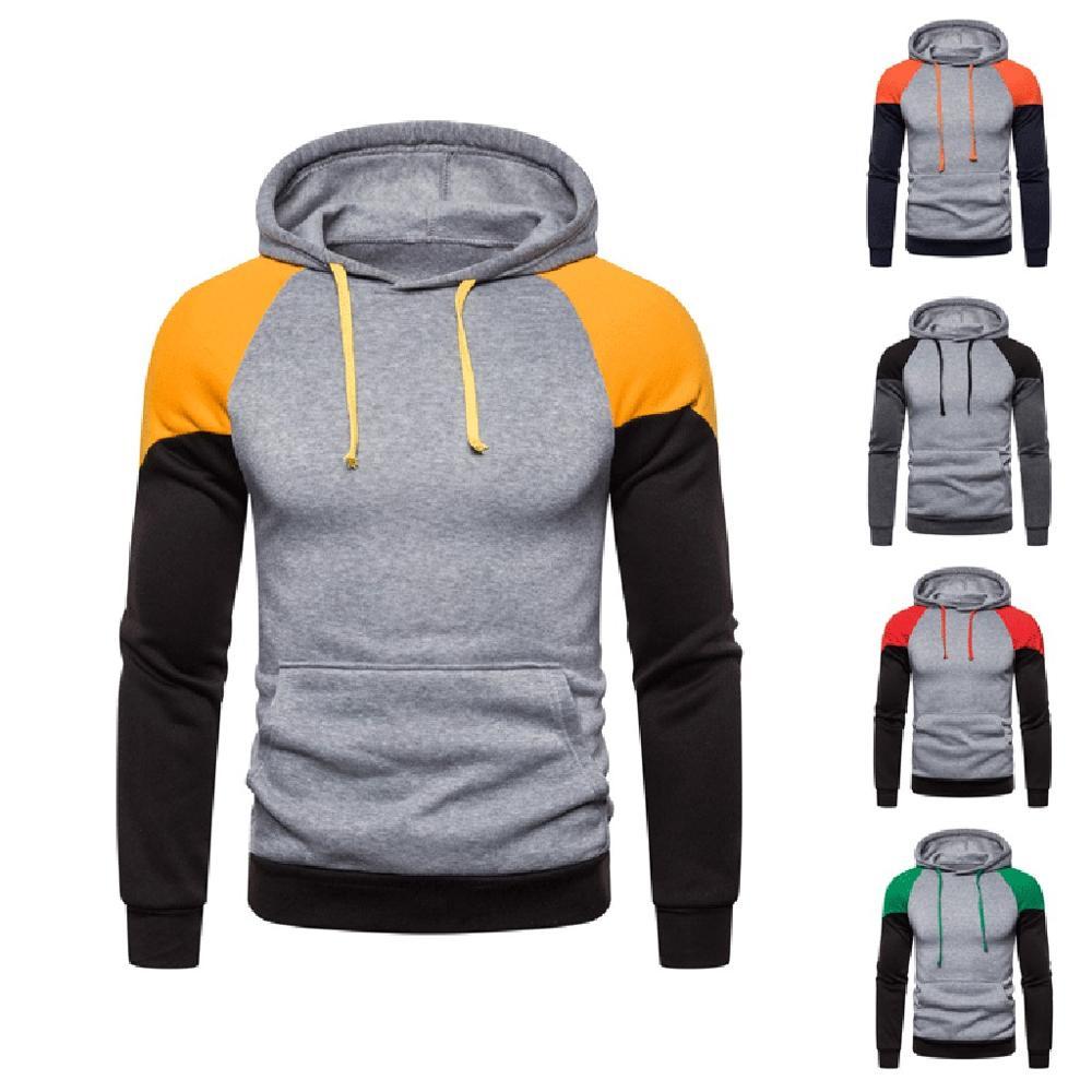 2019 Hoodies Men Sportswear Autumn Hooded Sweatshirts Male Patchwork Sleeve Sweatshirt Fleece hoodies