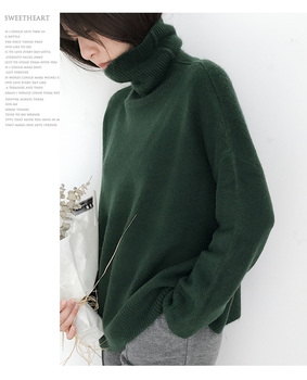 Ailegogo Women Pullover Sweater Knitting Autumn Winter Casual Solid Turtleneck Vintage Ladies Thick Tops SW1027 6