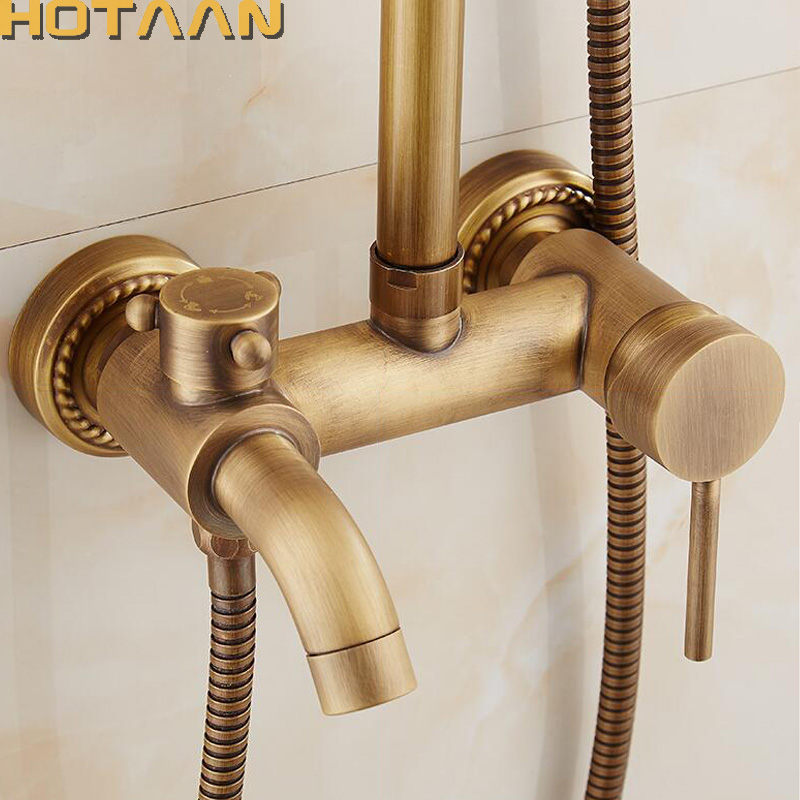 Free Shipping Antique Bathroom Mixer Bath Tub Copper Mixing Control Valve Wall Mounted Shower Faucet Concealed Faucet YT-5313-A