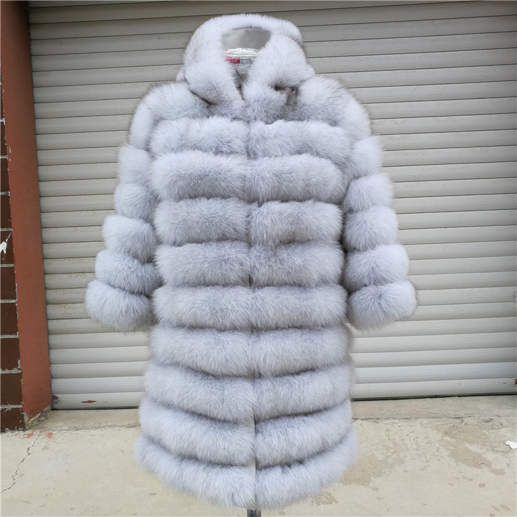 100% Natural Real Fox Fur Coat Women Winter Genuine Vest Waistcoat Thick Warm Long Jacket With Sleeve Outwear Overcoat plus size 109