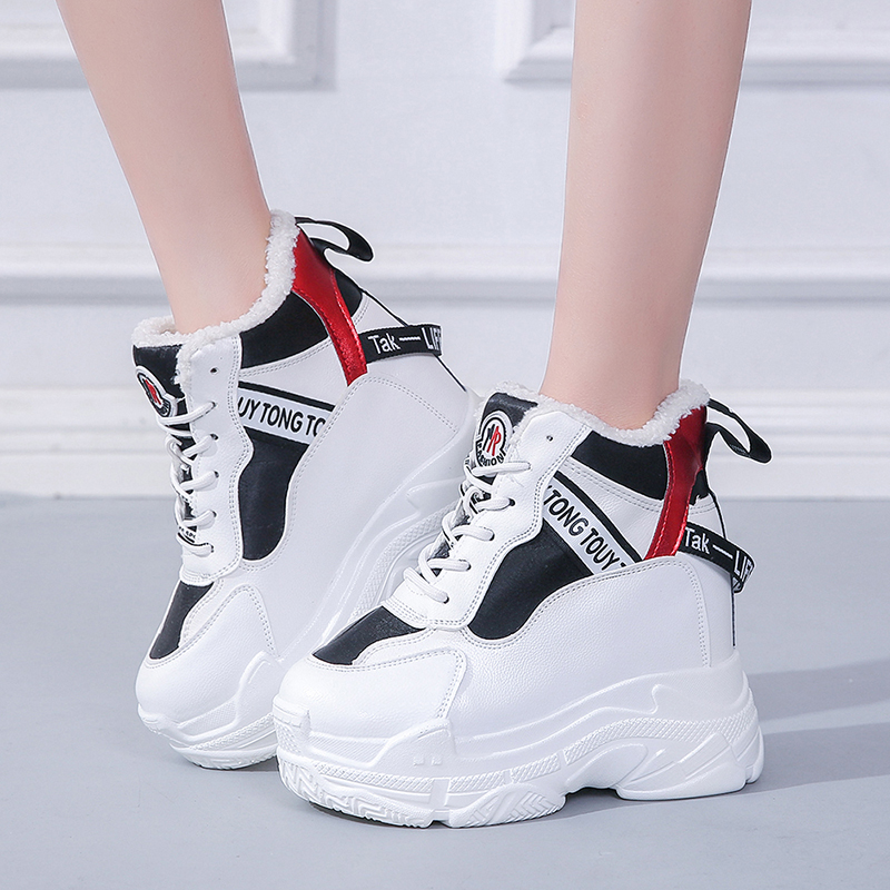 Rimocy women's hidden heels plush inside warm winter sneakers casual ladies high platform height increasing casual shoes woman