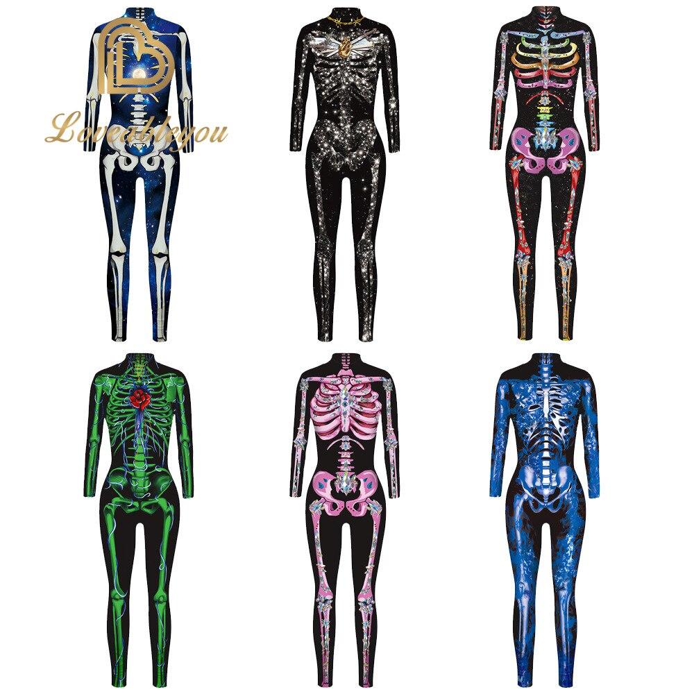 New 3D Print Rose Skeleton Costume Jumpsuit Scary Halloween Costumes For Women Mechanical Skull Plus Size Bodysuit