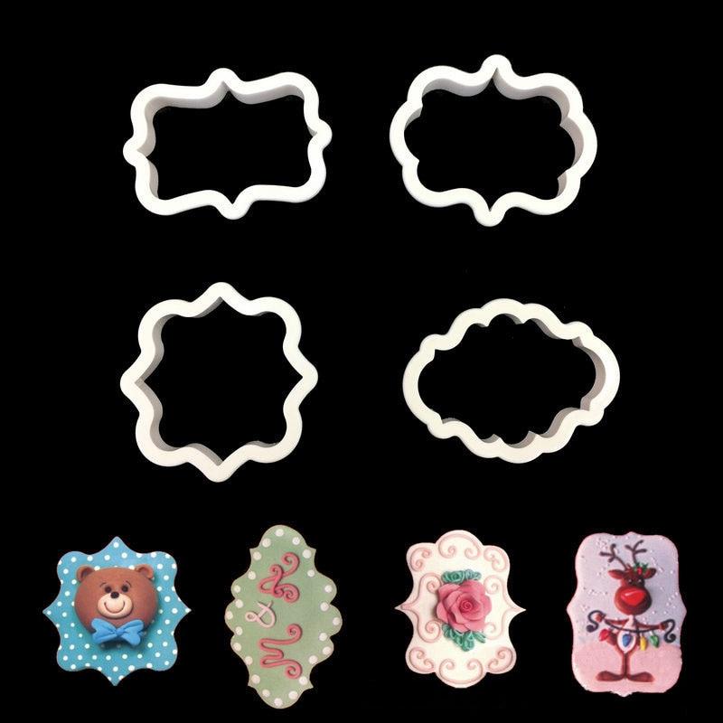 4pcs/set Fondant Cake Decorating Plaque Frame Cookie Cutter Kitchen Gadgets Plastic Biscuit Mould DIY Baking Tools White