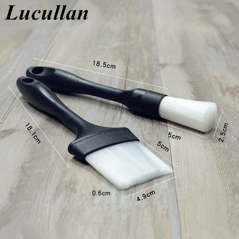 Lucullan Useful Brushes Set Car Gap Cleaning Tools For Air Outlet, Vent,Cup Holder,Wheel,Seat Deep Detailing Dusting
