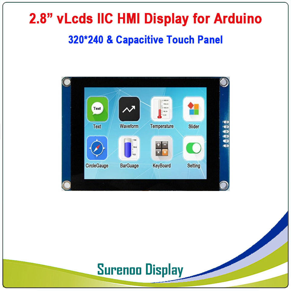 "2.8"" 320*240 Serial I2C IIC VLcds HMI Intelligent Smart TFT LCD Module Display Resistive Capacitive Touch Panel For Arduino"