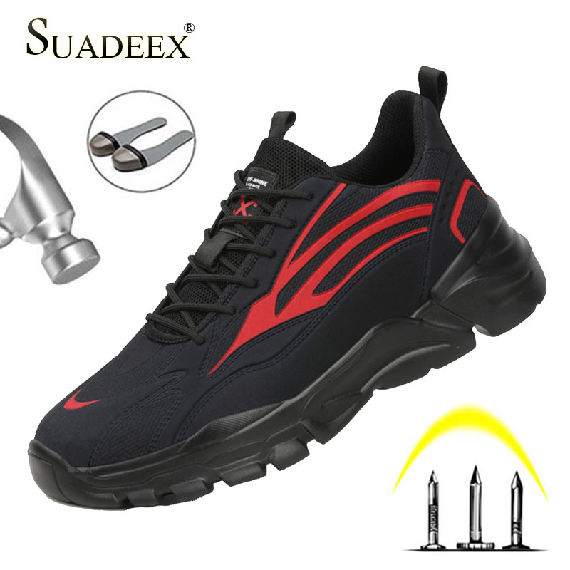 New SUADEEX Safety Work Shoes For Men Work Anti-smashing Steel Toe Shoes Lightweight Construction Safety Work Footwear Men Male