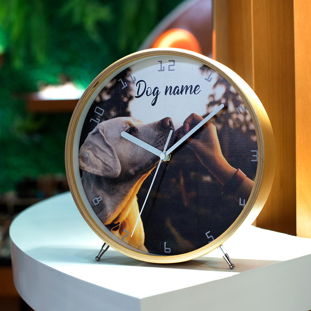 Customized Mute Table Clock  Wooden Desk Clock Home Decor Decoration Living Room Decoration Persionalized Custom Dog Photo Clock