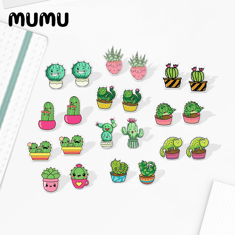 2020 New Cute Cactus Stud Earring Kawaii House Plants Acrylic Earring Silver-color Handmade Earrings Epoxy Jewelry For Children