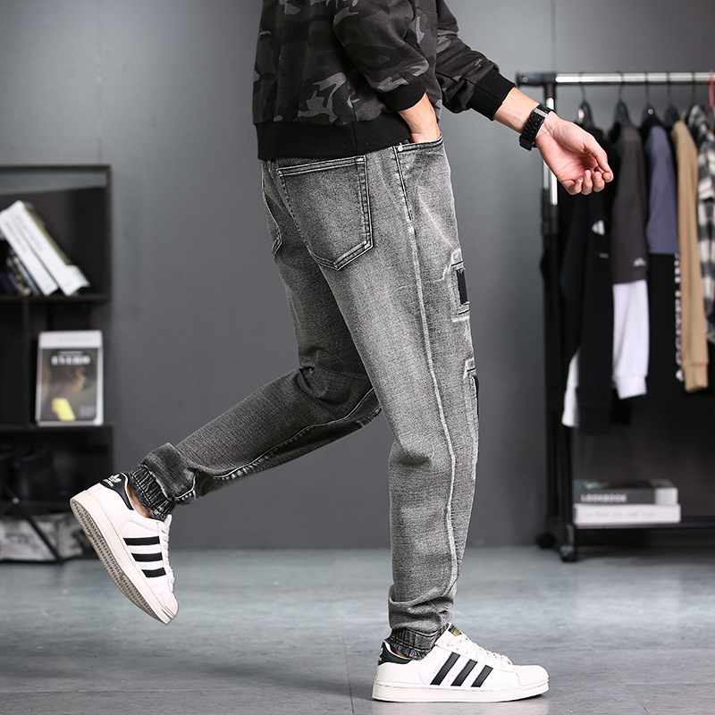 Autumn And Winter New Style MEN'S Jeans Slim Fit Elasticity Beam Leg Trousers Loose-Fit Plus-sized Trend With Holes Jeans