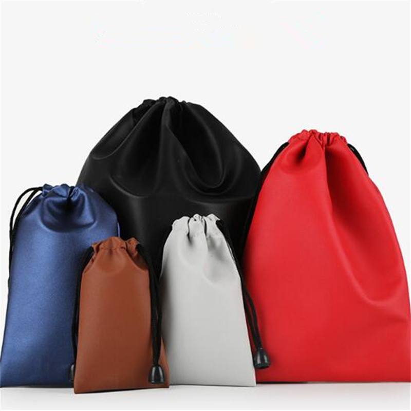 High Quality Custom Logo Bag PU Leather Drawstring Bags Headset Data Cable Waterproof Storage String Bag Gifts Pouch