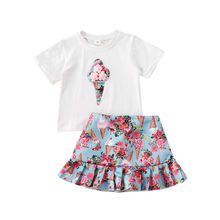 цена Summer 2 Pieces Set Toddler Kids Clothes Set Baby Girl Outfits Short Sleeve T Shirt Floral Tutu Skirts Clothes Sets 18M-5Y онлайн в 2017 году