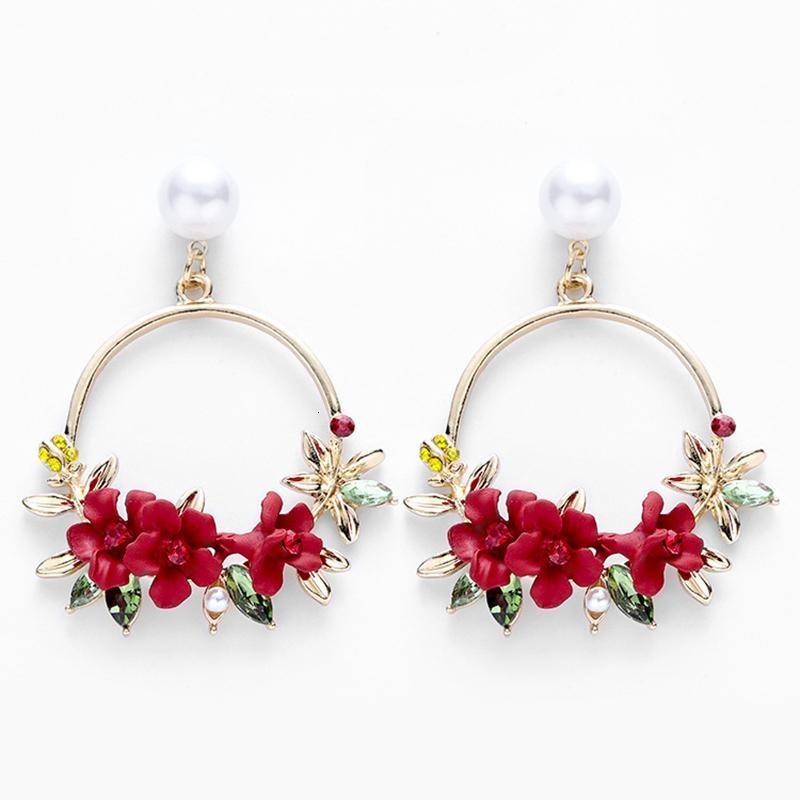 Vintage Trendy Cute Flower Dangle Earrings For Women Girl Jewelry Female Rhinestone Round Circle Gift Wholesale Oorbellen Earing