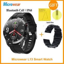 ES оригинальный Microwear L13 Смарт-часы Для мужчин вызовов через Bluetooth ЭКГ пульсометр IP68 водонепроницаемый 1,3 дюймов Фитнес часы VS L16 Смарт-часы